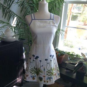 Tory Burch Botanical Embroidered Linen Silk Dress
